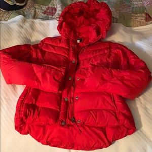 JCrew Red Down Puffer Coat With Detachable Hood